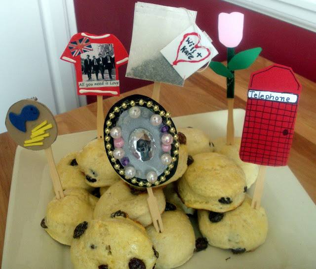 English Scones with Royal wedding themed toppers!