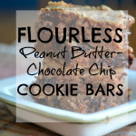 Flourless Peanut Butter- Chocolate Chip Cookie Bars