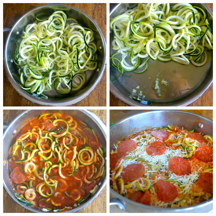 pepperoni pizza zoodle collage