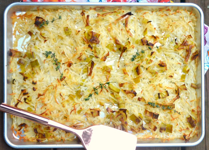 Crispy Oven Potatoes with Leeks and Thyme
