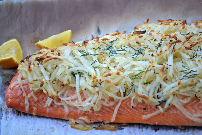 Lemon Dill Potato Crusted Salmon