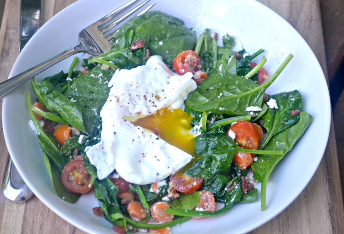 Warm Spinach Salad With Bacon Dressing and Poached Eggs