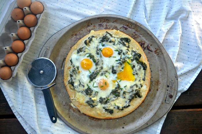 Eggs Florentine Breakfast Pizza