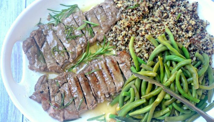Grilled Steak with Rosemary Honey Butter Sauce