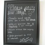 Guest room chalkboard