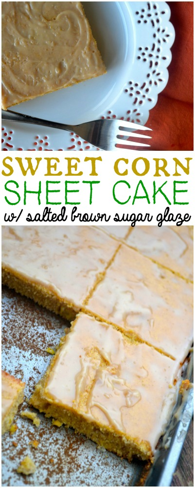 Iowa Corn Sheet Cake w salted brown sugar glaze