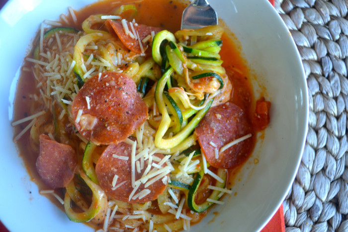 pepperoni pizza zoodles bowl