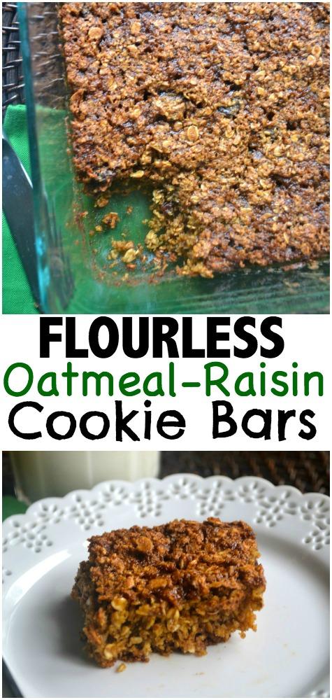 Flourless Oatmeal Raisin Cookie Bar
